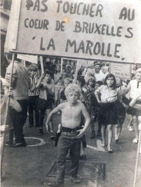 Battle of the Marolles (Bataille des Marolles) of 1969, explanations during the visit Brussels 1000 years of struggles of Brussels By Foot (Photo Sonuma)