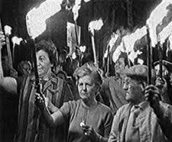 Manifestación durante la Batalla de los Marolles en 1969. Hablamos de esta lucha social durante la visita Bruselas 1000 años de luchas de Brussels By Foot