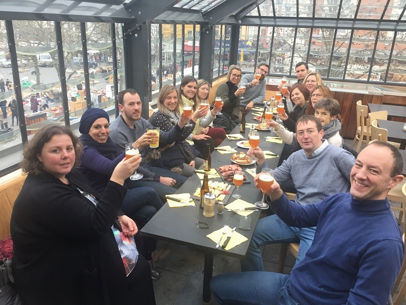 Aperitif and restaurant at the end of the guided tour with Brussels By Foot. End of the team building with a tasting of beers and cold meats.